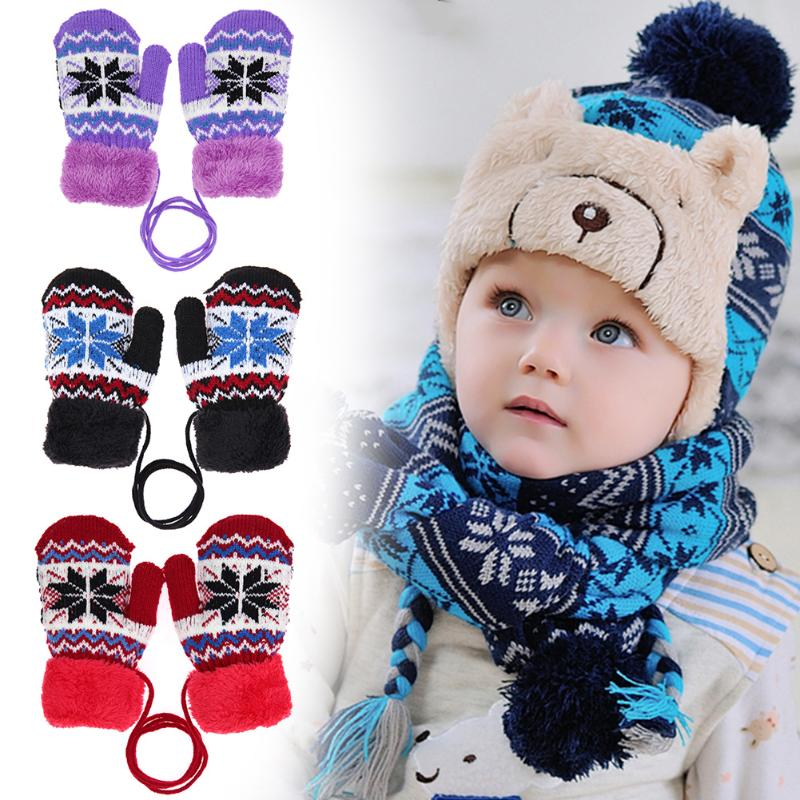 Autumn Winter Warm Children Gloves Fashion Boy Girl Full Finger Mittens Hand Muff Warm Kids Knitted Elastic Thickened Ski Gloves