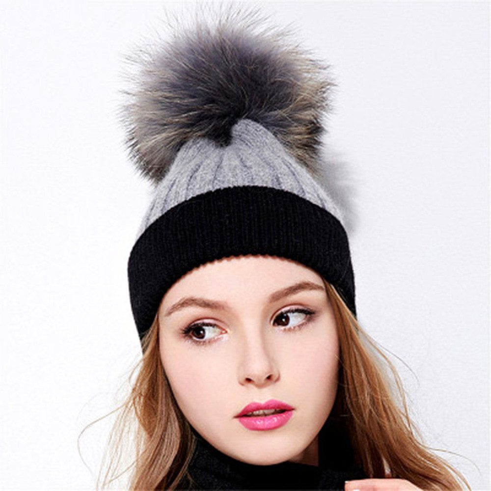 86625598d2f 2018 casual simplicity womens ladies winter hand knit wool pompoms beanie  hairball hat patchwork one size