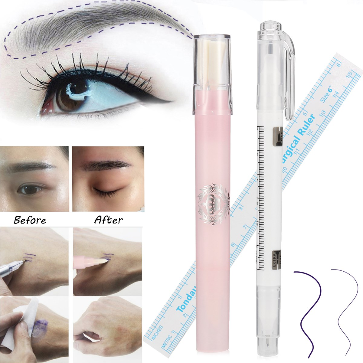 3pcs Microblading Surgical Eyebrow Marker Pen With Measure Ruler +Magic Eraser Remover Brush Tattoo Scribe Piercing Skin Tool