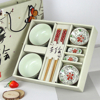 New Arrival Chinese Style Creative Idea Gift 2 PCS Bowl 2 PCS Dishes 2 Pairs Of