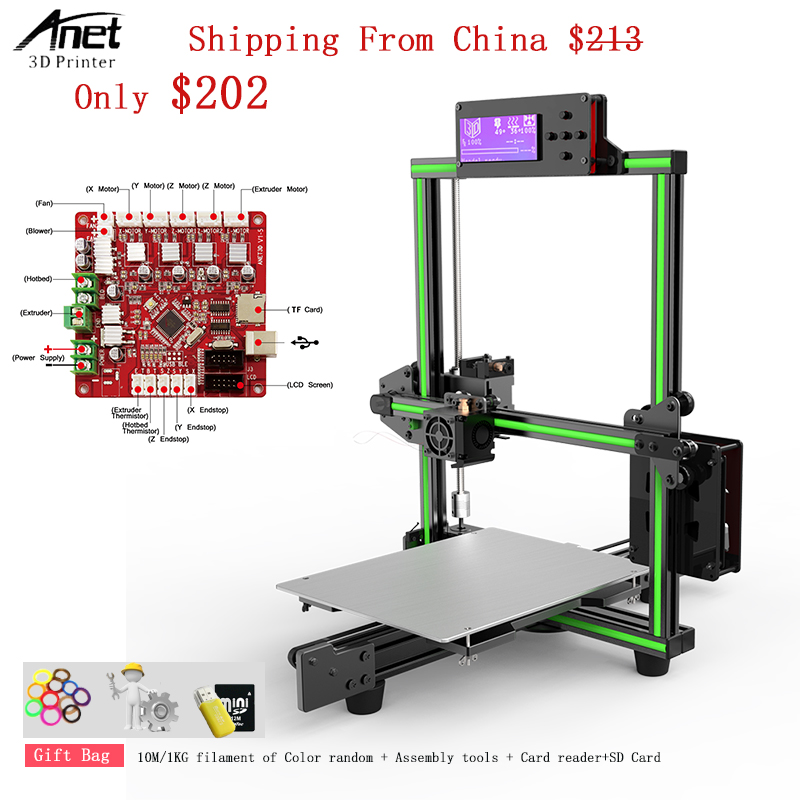 2018 Anet E2 3d Printer Kit Easy Assembly Delta impresora 3d Reprap i3 DIY Kit LCD Screen 3d Printer with 1kg PLA/ABS Filament aluminum prusa i3 3d printer diy kit et i3 board lcd 12864 with 8 in 1 3d printer control box 3d filament 1kg