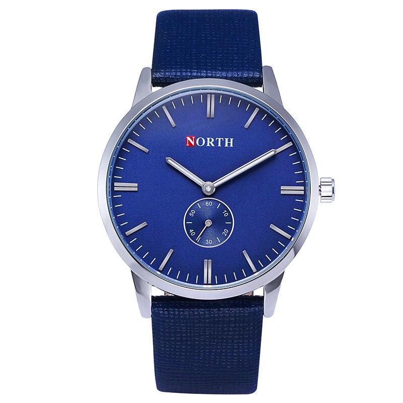 Luxury brand north Watch men's leather best waterproof Relogio Masculino Montre Homme Blue Casual Quartz Watch Men reloj hombre