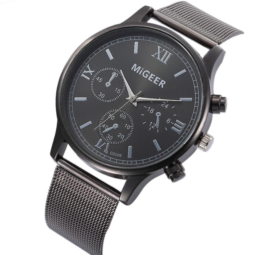 MIGEER Fashion Man Stainless Steel Analog Quartz Wrist Watch Men Sports Watches Reloj de hombre 2017 #20 Gift