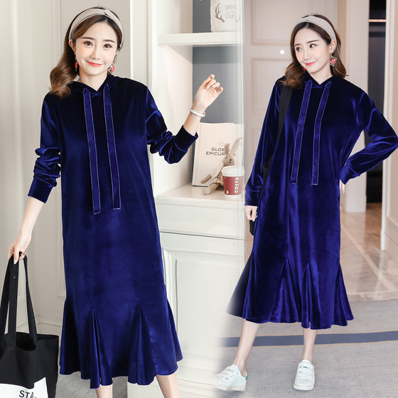 2017 autumn and winter pregnant women new lotus leaf fish tail velvet thick velvet long section Wei wei masi 58 5 27