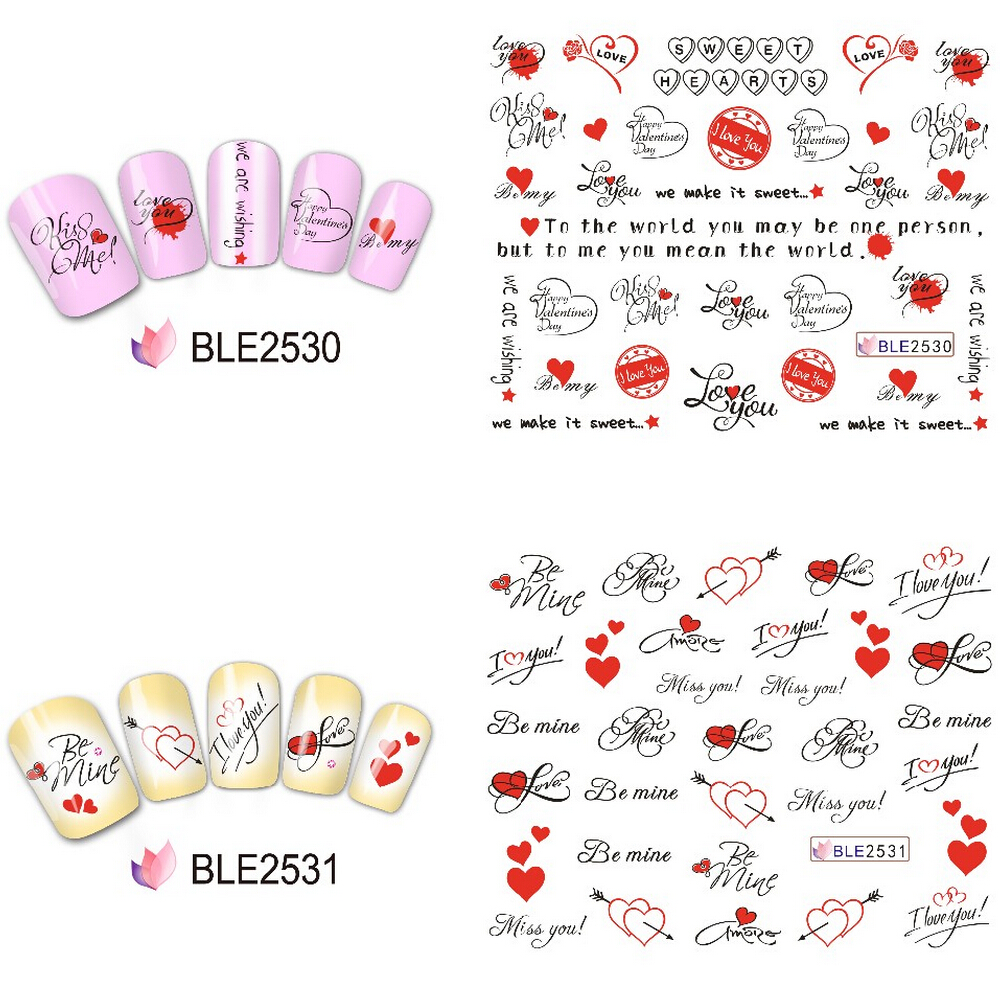 11 Designs In 1 Set Nail Art Stickers Letters Water Transfer Wrap Manicure Decor Valentine Decals Beble2524 Ble2534 From