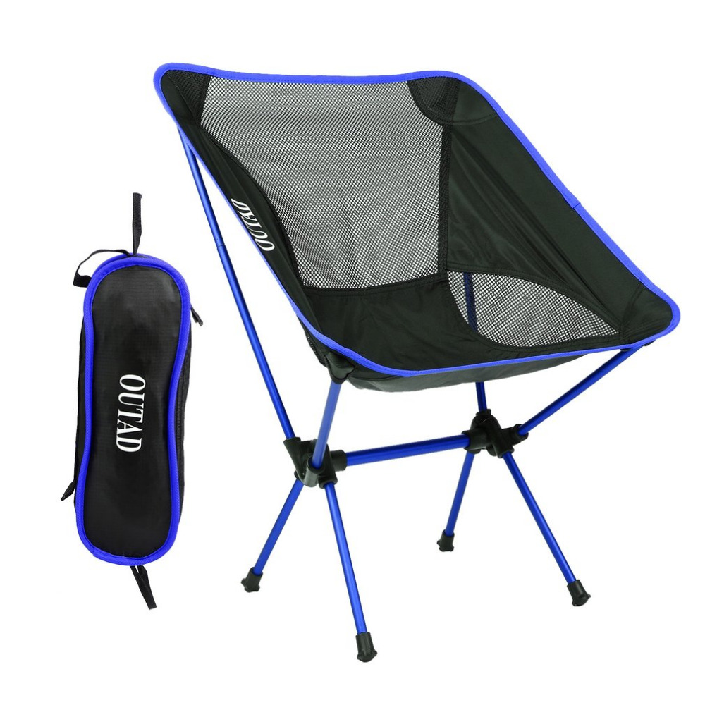 OUTAD Aluminum Alloy Folding Camping Fishing Chair Blue Ultralight Portable Picnic Beach Garden Chair For Outdoor Fishing household portable lunch picnic handbag deep blue black