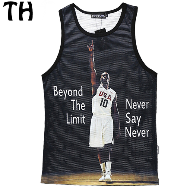 2016 Summer 8 Style Women Men Tank Tops Bryant James Ray Kobe 3D Print Mesh Breathable Casual Vest #160339
