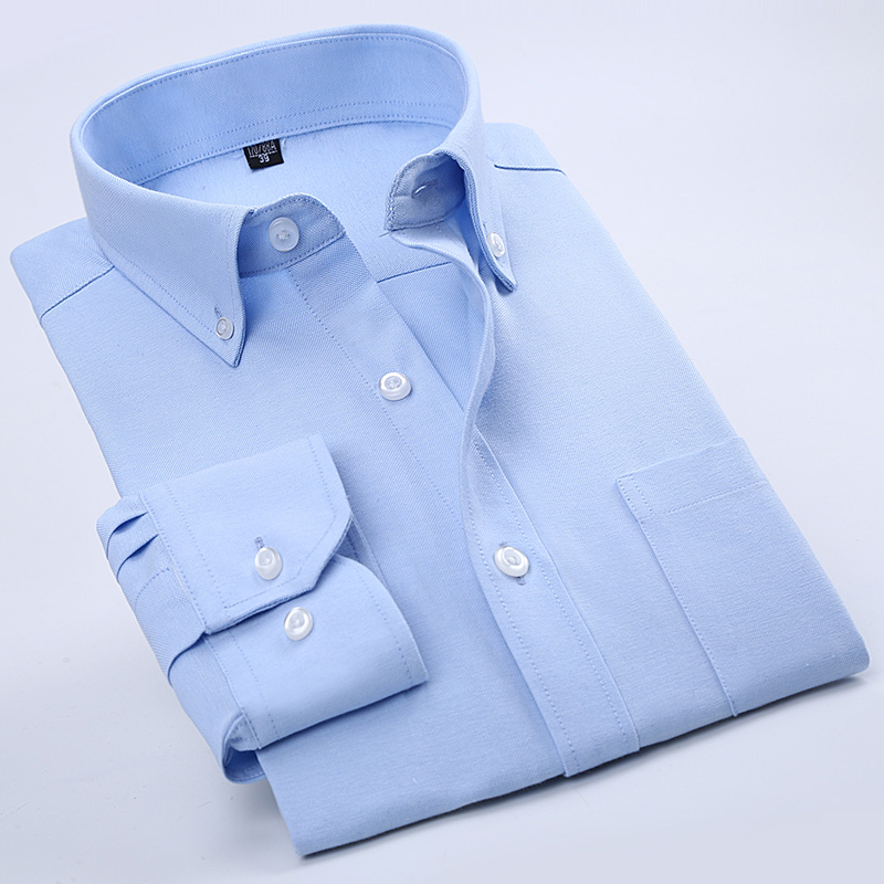 Casual Men shirts Oxford dress shirts full sleeve long sleeve brand male 20 colors for sale Solid Striped Plaid style