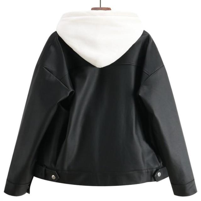 2019 New Arrival Women Autumn Winter Leather Jacket Oversized Boyfriend Korean Style Female Faux Coat Outwear Black 2