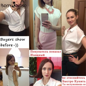 Image 2 - 2019 été Style Blouse femmes mode blanc en mousseline de soie élégante chemise femme travail porter bureau dames haut manches longues femmes vêtements