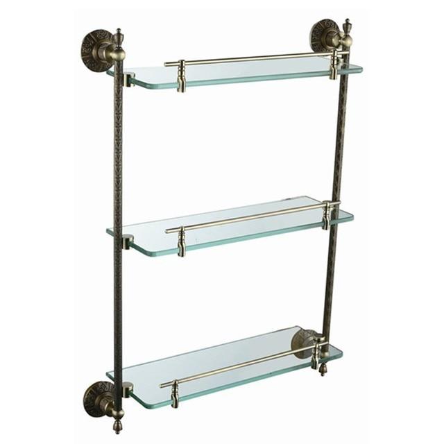 Gratis verzending koper antieke bronzepaint triple tier glazen plank ...