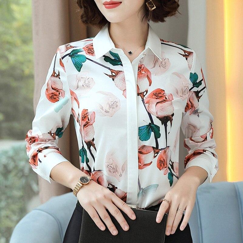 Image 2 - Fashion Rose printed shirt women spring New temperament long sleeve chiffon blouse office ladies personality plus size topsBlouses & Shirts   -