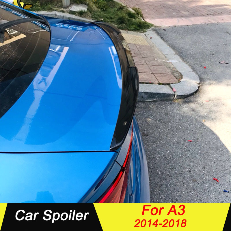 For <font><b>Audi</b></font> <font><b>A3</b></font> Sedan 2014 2015 <font><b>2016</b></font> 2017 2018 S3 Spoiler ABS Material Primer Color Tail Wing Decoration Rear Trunk Car Spoilers image