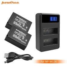 2Packs 7.2V 1600mAh Li-ion NP-W126 Camera Battery+LCD Dual Charger For Fujifilm FinePix HS30EXR HS33EXR X-Pro1 L15
