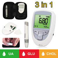 3 in 1 Cholesterol Uric Acid Blood Glucose Test Kit Household Glm Meter Medical Monitoring System Health Care for Diabetes