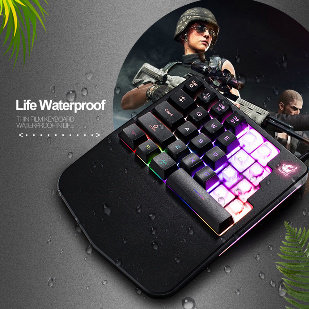 perfect gift usb glowing gaming keyboard single hand rgb backlit for pc phone for iphone xiaomi. Black Bedroom Furniture Sets. Home Design Ideas