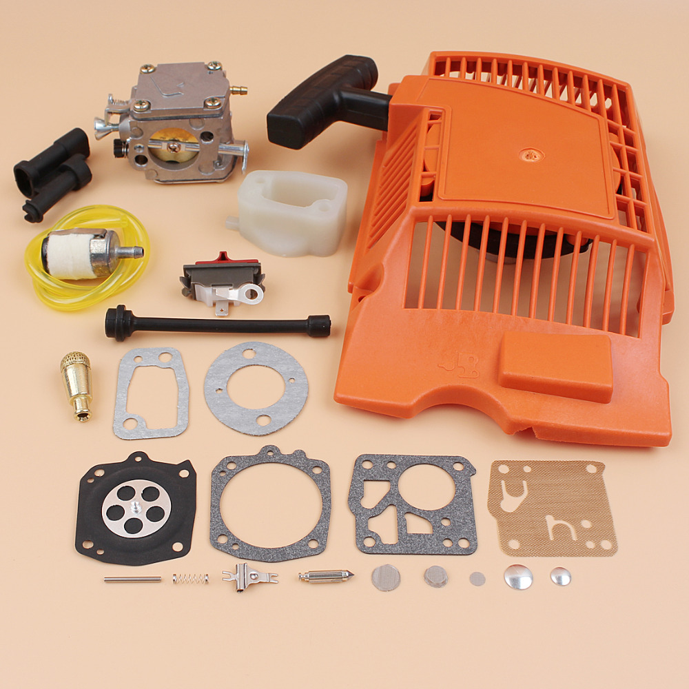Recoil Starter Carburetor Carb Repair Kit For Husqvarna 61 268 272 XP 272XP Chainsaw w/ Intake Manifold Stop Switch Oil Hose