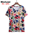 XL-5XL Plus Size T-shirts for women New 2016 Summer Style Fashion Cartoon Zootopia Printed Cotton Short Sleeve Female T-shirt