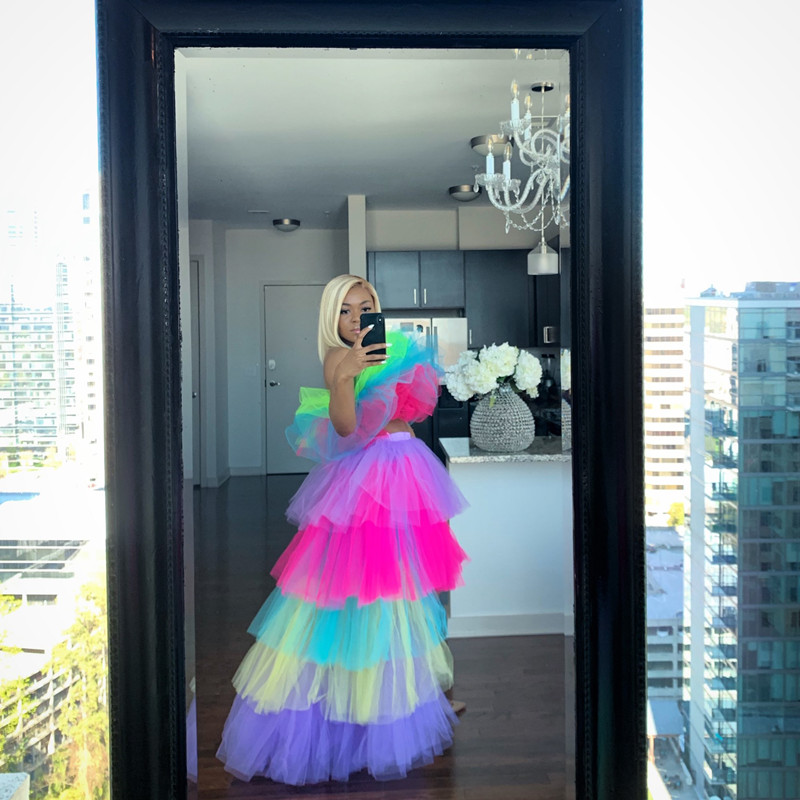 Multi Color High Low Long Tulle Skirts Elegant Tiered Female Tutu Skirt Zipper Style Fashion Ruffle Asymmetrical Rainbow Skirts