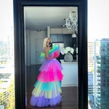Multi color High Low Long Tulle Skirts Elegant Tiered Female Tutu Skirt Zipper Style Fashion Ruffle Asymmetrical Rainbow Skirts