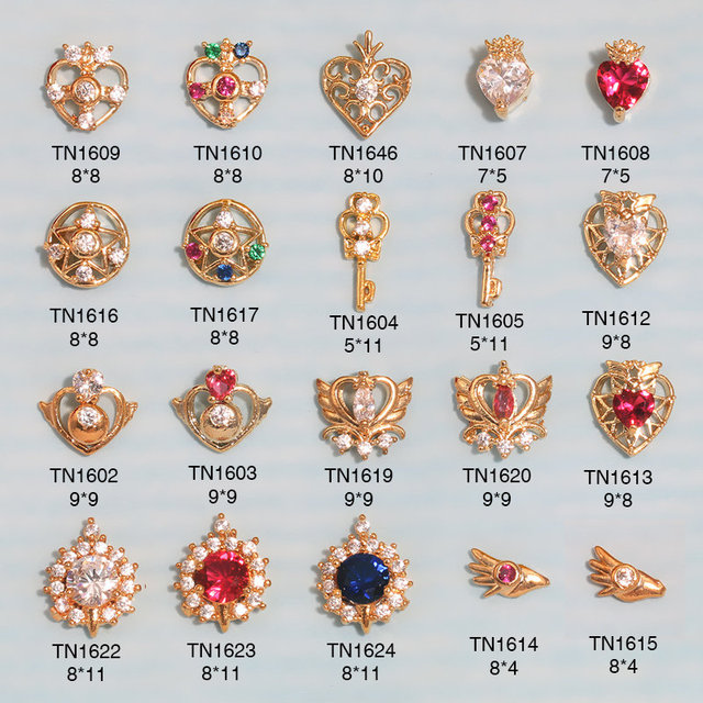 10pcs 3D metal Zircon Nail art jewelry Sailor Moon series nails decorations top-level zircon rhinestone Manicure diamond Charms