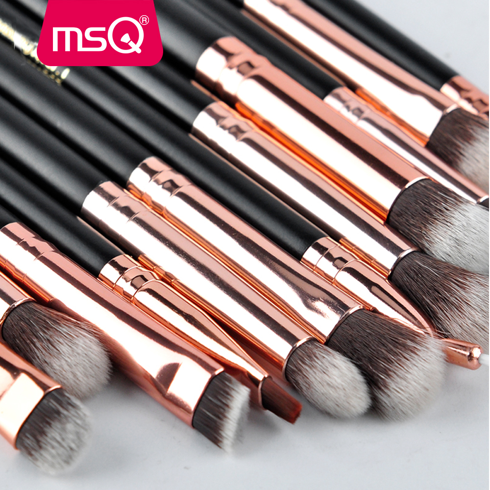 MSQ 12st Eyeshadow Makeup børster Set pincel maquiagem Pro Rose Gold - Makeup - Foto 6