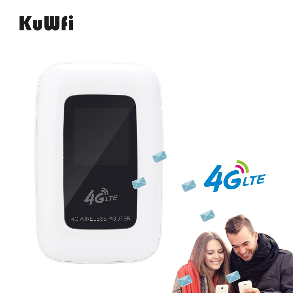 Image 3 - KuWfi 4G LTE Wifi Router Portable 150Mbps WIFI Mobile Hotspot 4G Travel Router Car Router&Modem With SIM Card slot-in 3G/4G Routers from Computer & Office