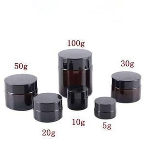 Image 1 - 5g 10g 15g 20g 30g 50g bursztynowy szklany krem do twarzy słoik kosmetyczny próbka pojemnik do pakowania wielokrotnego napełniania garnek z czarna pokrywa do podróży