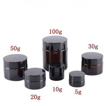 5g 10g 15g 20g 30g 50g frasco creme facial de vidro âmbar recipiente de embalagem cosmético da amostra recarregáveis pote com tampa preta para o curso