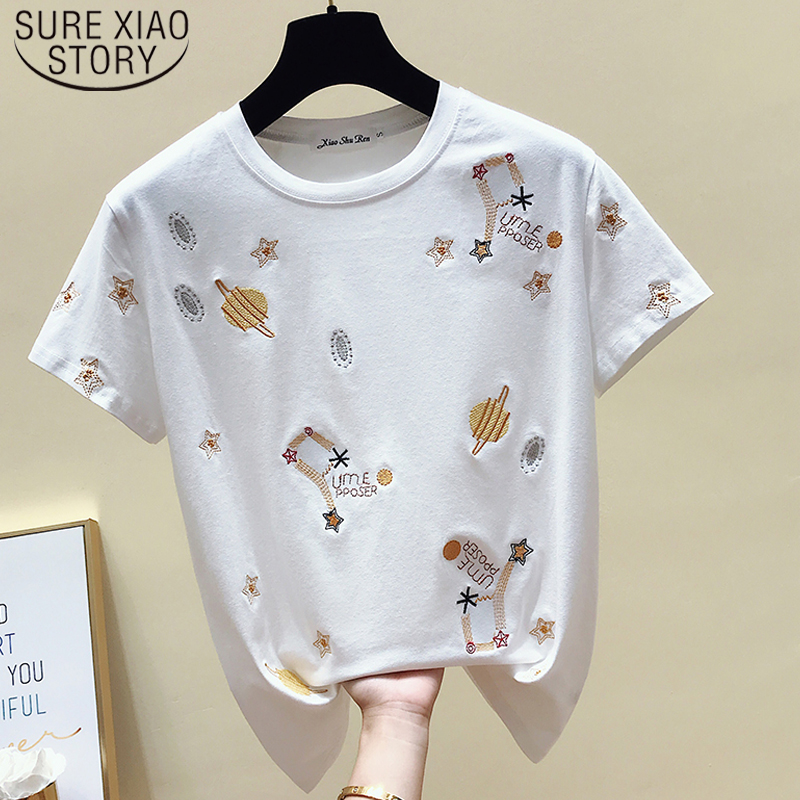 Casual Black Tee Shirt 2019 Korea White T Shirt Women Clothes Summer Short Sleeve Embroidery Vintage TShirt Female Tops 4863 50