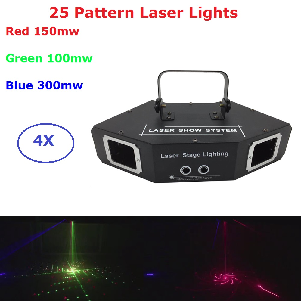 Free Shipping 25 Patterns RGB Full Color Laser Projector Light DJ Disco Party Music Laser Stage Lighting Effects For Dj Lights