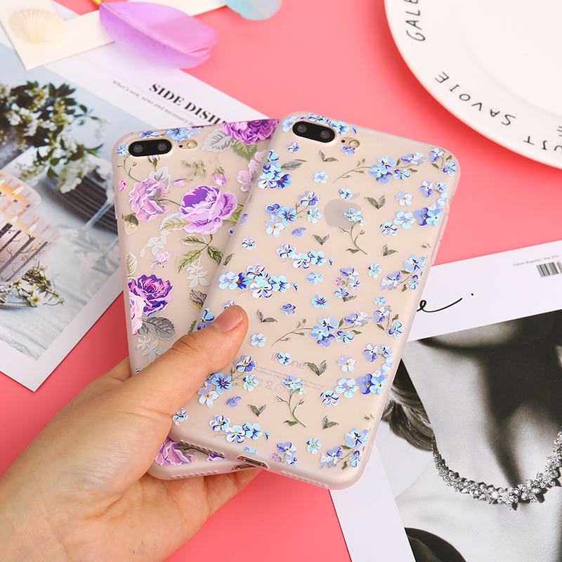 KMUYSL Printed Purple Rose Scrub Soft TPU Case For iPhone 7 Cases Blue Floral Silicone Cover For iPhone 6 6s Plus 8 Plus Case