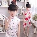 2016 Verano Estilo Chines Chica Vestido Appliques Floral O-cuello de la Envoltura de Nacionalidad Regulares Ropa Princesa Boda del Partido del Traje