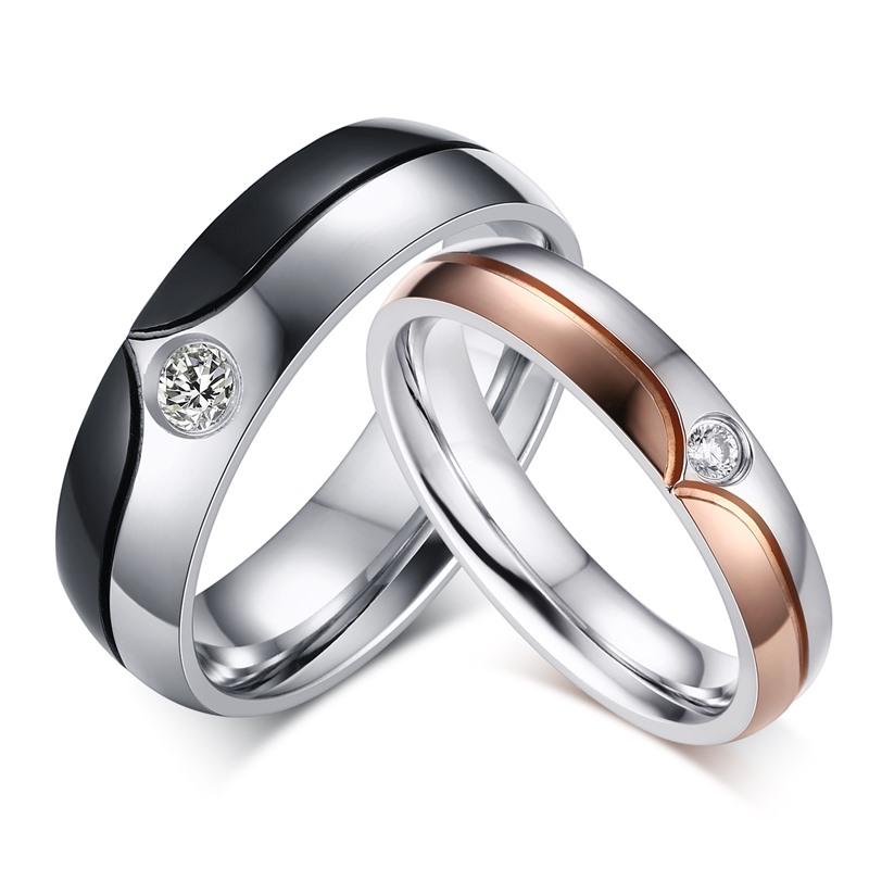 ac4180e5cf6 Couple Ring Quality Stainless Steel Ring with Gun Black  Rose Gold Color  for Men and Women Wedding Band Love Ring
