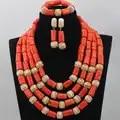 Africano/nigeriano nuevo 4 filas naranja añadir bola de oro Coral perlas fiesta joyería conjunto de bisutería al por mayor envío gratis CJ456