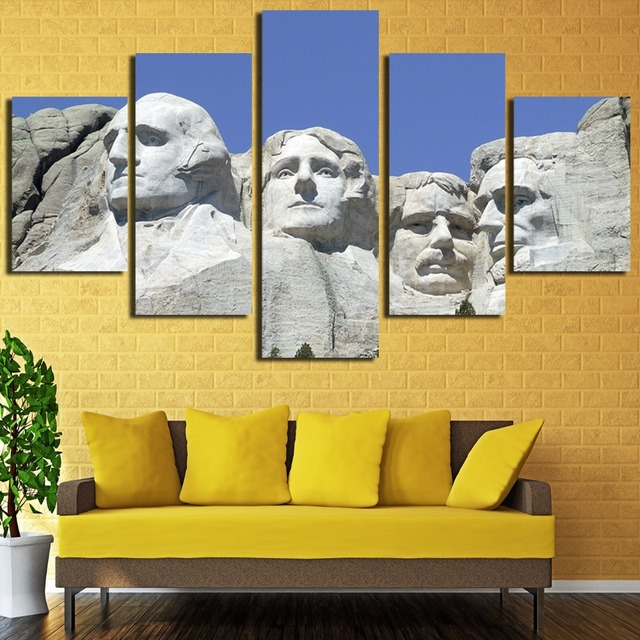 5 Pieces United States Mount Ruthmore Abstract HD Printed Painting ...