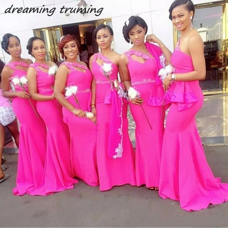 African Fuchsia One Shoulder Mermaid   Bridesmaid     Dresses   2019 Beads Waist Stain Maid Of Honor   Dress   For Wedding Plus Size