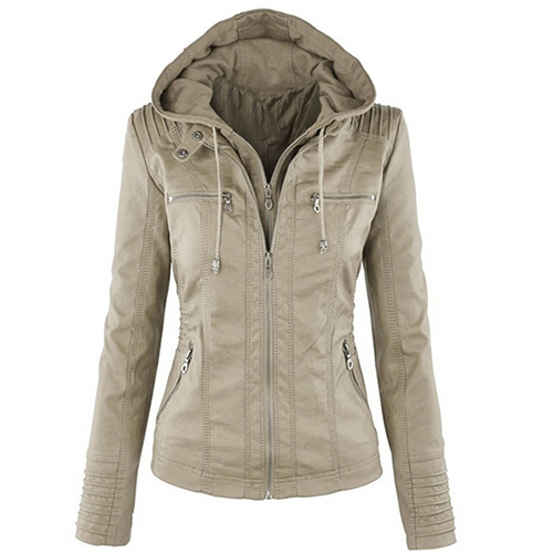 Lady Faux Leather Long Sleeve Solid Color Zipper Removable Hooded font b Jacket b font Outwear