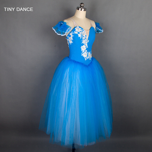 Image 3 - Özelleştirilmiş profesyonel bale dans Tutu deniz mavi uzun romantik tutuş balerin elbise kol bantları ile B18002