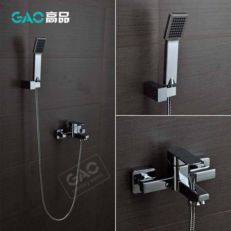 Free Shipping Wall Mounted Bathtub Faucet, Bathtub Shower Mixer, Wall Mounted Chrome Finish Shower Set, Shower Tap, Wholesale wall mounted two handle auto thermostatic control shower mixer thermostatic faucet shower taps chrome finish