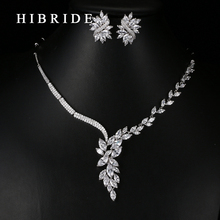 HIBRIDE Luxury Jewelry White Gold Color Necklace Earrings AAA CZ Stone Pave Wedding Jewelry Sets For Bridal N-69