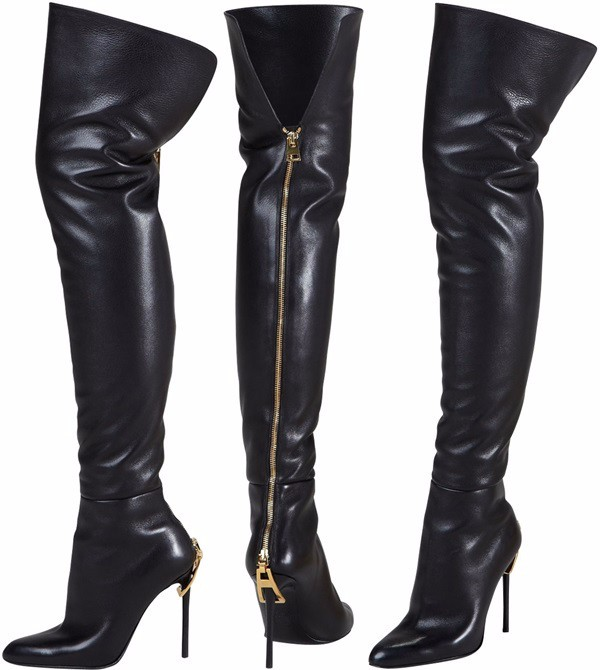 Stretch leather black over the knee boots nightclub big zipper head slim thin high heel  back zipper thigh high botas feminina high back big