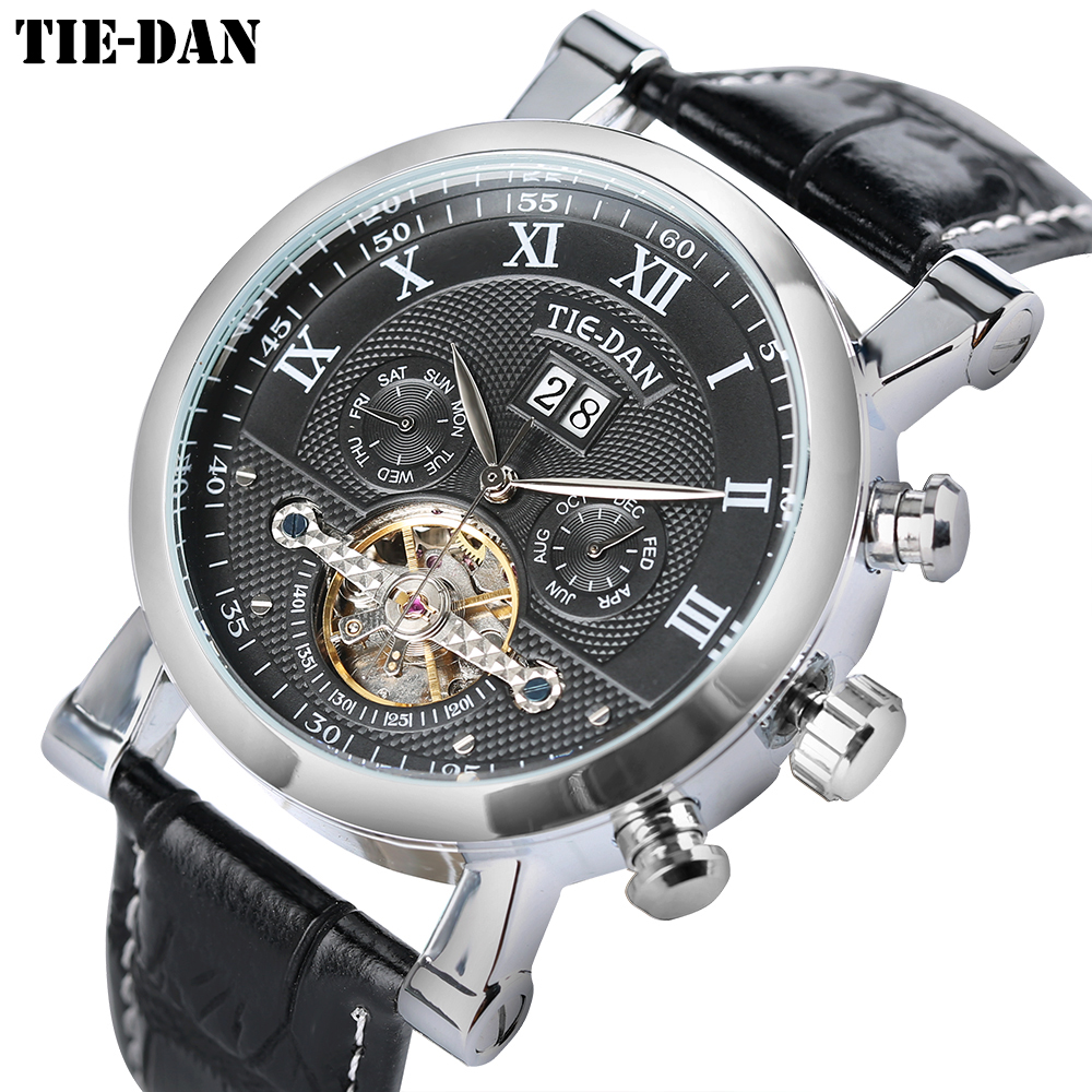 Top Luxury Brand TIEDAN Tourbillon Mechanical Automatic Men Watches Self-Wind Wrist Watch Stylish Business Skeleton Male Clock forsining top brand luxury men s wrist watch men military sport clock hand wind mechanical watches male business skeleton clocks