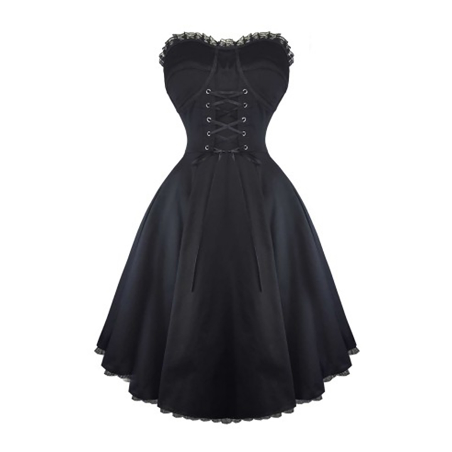 Women Gothic Dress Black Strapless Retro Sleeveless Lace Up Straps Bustier Backless Sexy Slim A-Line Party Goth Vintage Dresses