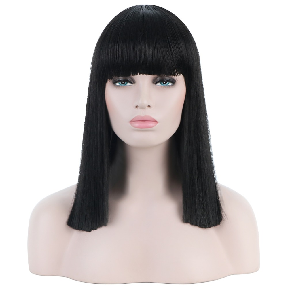 Home Hospitable Long Straight Female Synthetic Full Wigs With Bangs Black Hair Wigs For Women 16 Anime Cosplay Wig Fashion Masquerade Hp-023e Reputation First