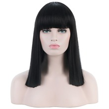 Long Straight Female Synthetic Full Wigs with Bangs Black Hair Wigs for Women 16'' Anime Cosplay Wig Fashion Masquerade