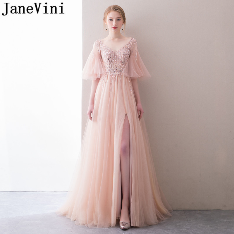 JaneVini Luxury Coral Pink Long Prom Dresses High Split Beaded Sequins Tulle Bridal Wedding Party Dress 2018 Bridesmaid Gowns