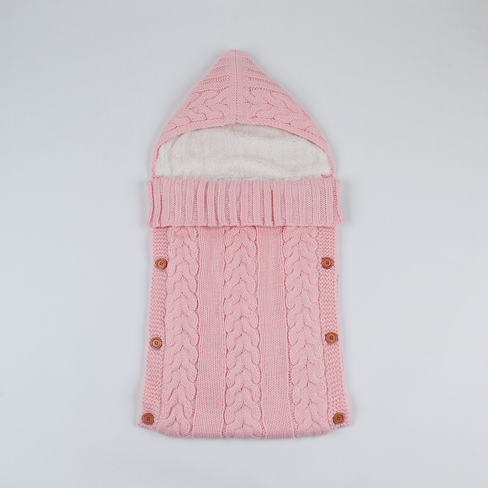 Baby Sleeping Bags for Stroller Winter Cable Knit Newborn Bebe Hospital Swaddle Wrap Blankets Toddler Infant Envelopes Button Up horn button cable knit cardigan