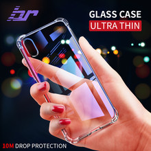 BR Luxury Glass Case For iPhone X Cases Drop Protection Ultra Thin Transparent Back Glass Cover Case For iPhone X 10 Soft Edge(China)