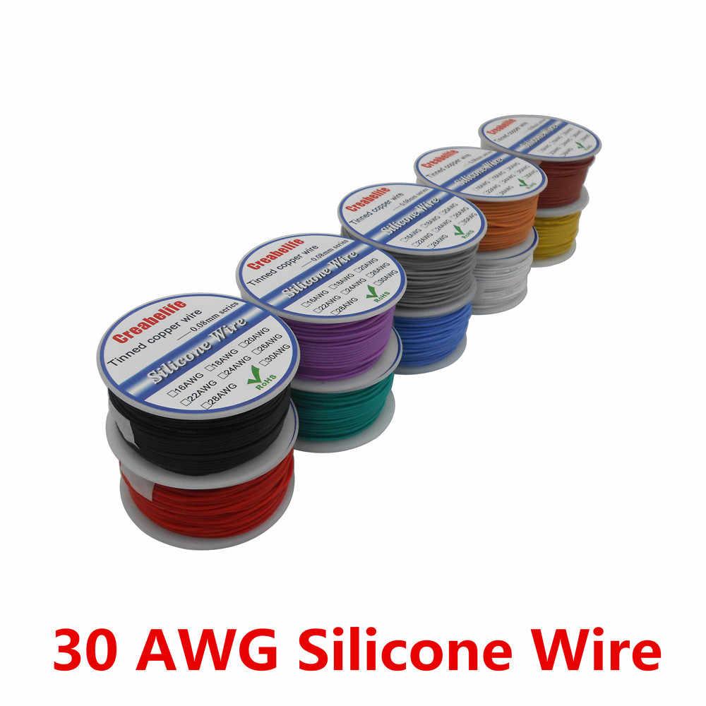 50 메터/몫 30 awg 유연한 실리콘 와이어 10 색 rc 케이블 라인 스풀 od 1.2mm 주석 도금 된 구리 와이어 전기 와이어